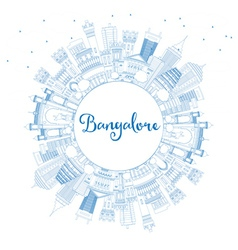 Outline bangalore skyline with blue buildings vector