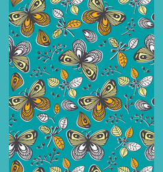 seamless pattern with flowers butterfly and vector image