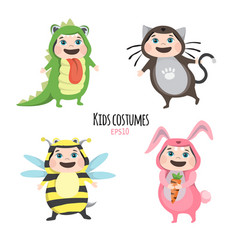Set of cute kids wearing animal costumes isolated vector
