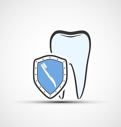 shield with a human tooth and toothbrush vector image