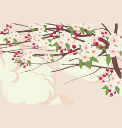 Spring landscape with branches of blooming tree vector