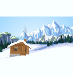 Winter mountain landscape with house vector image vector image