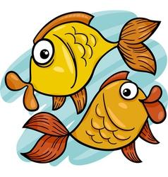 zodiac pisces or fish cartoon vector image
