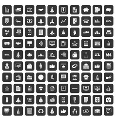 100 startup icons set black vector