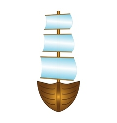 Fishing boat with sails vector