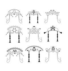 Set of vintage graphic chuppah religious jewish vector