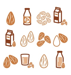 Almonds almond milk icons set vector
