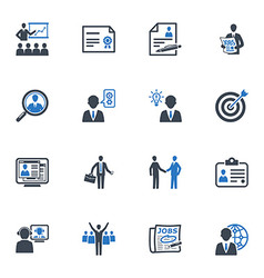 Employment and business icons - blue series vector