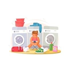 Man in underwear waiting washing vector