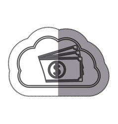 cloud data center with bills icon vector image
