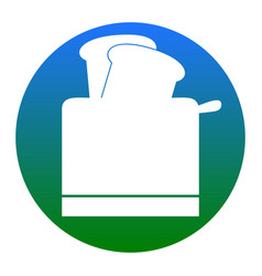 Toaster simple sign  white icon in bluish vector