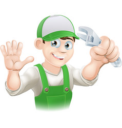 Plumber or mechanic with spanner vector