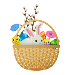 Easter animals flowers and eggs vector