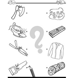 Match objects educational coloring page vector