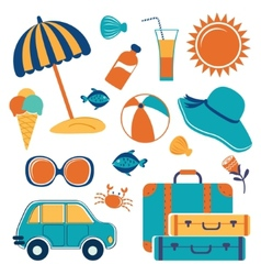 Summer vacation icons vector