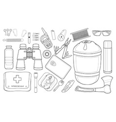 Survival set line-art vector