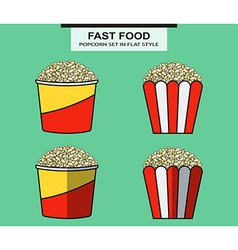 Popcorn set in flat style vector