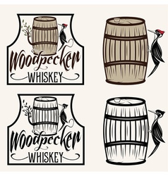 Woodpecker sitting on the barrel whiskey labels vector