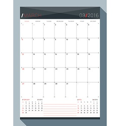 March 2016 design print template monthly calendar vector
