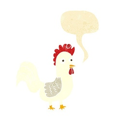 Cartoon rooster with speech bubble vector