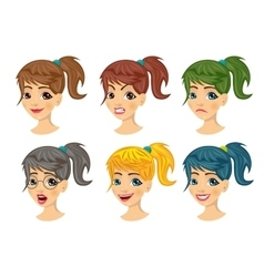 Set of teenager girl avatar expressions vector