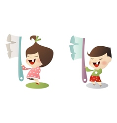 Kids with toothbrush vector