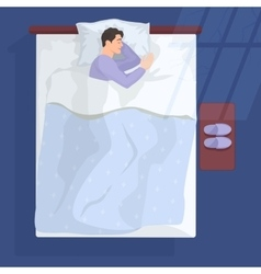Sleeping man in bad at night near window vector