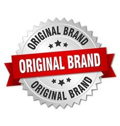 Original brand 3d silver badge with red ribbon vector