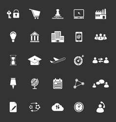 Business connection icons on gray background vector