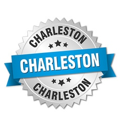 Charleston round silver badge with blue ribbon vector