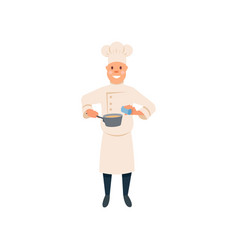 chef in cooking process food cartoon man vector image vector image