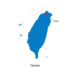 Detailed map of Taiwan and capital city Taipei vector image