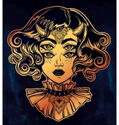Devil girl portrait with gothic collar four eyes vector