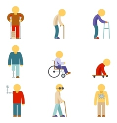Disability flat icons People signs vector image