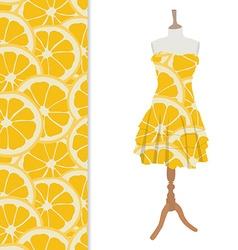 Dress with orange pattern vector image