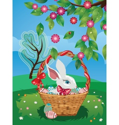 Easter Bunny with Eggs in the Basket2 vector image vector image