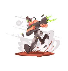 Gamer guy runs with blaster vector