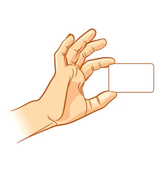hand holding an empty business card vector image vector image