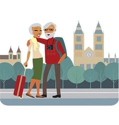 Happy senior couple travelling vector