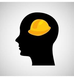 head silhouette black icon helmet construction vector image