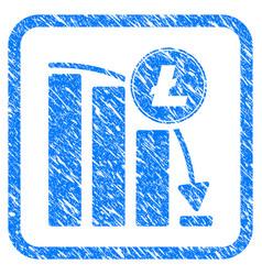 Litecoin falling acceleration chart framed stamp vector