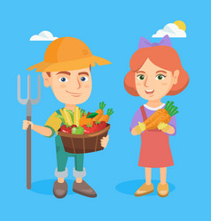 little boy and girl holding fruit and vegetables vector image