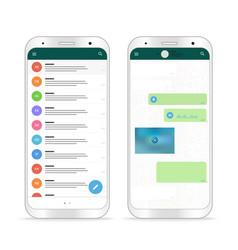 Modern smartphone messenger app mockup vector