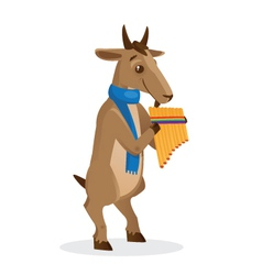 Musical animals goat panflute vector