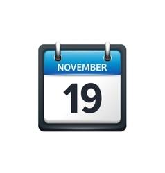 November 19 calendar icon vector