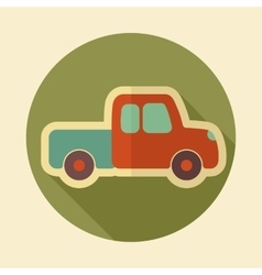 Pickup truck retro flat icon with long shadow vector