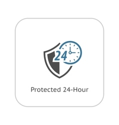Protected 24-hour icon flat design vector