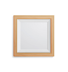 realistic photo frame square light wood vector image vector image