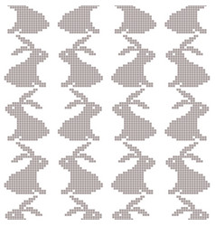 seamless cross stitches rabbit pattern on white vector image vector image