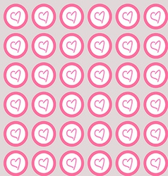 Seamless pattern hearts in circles vector